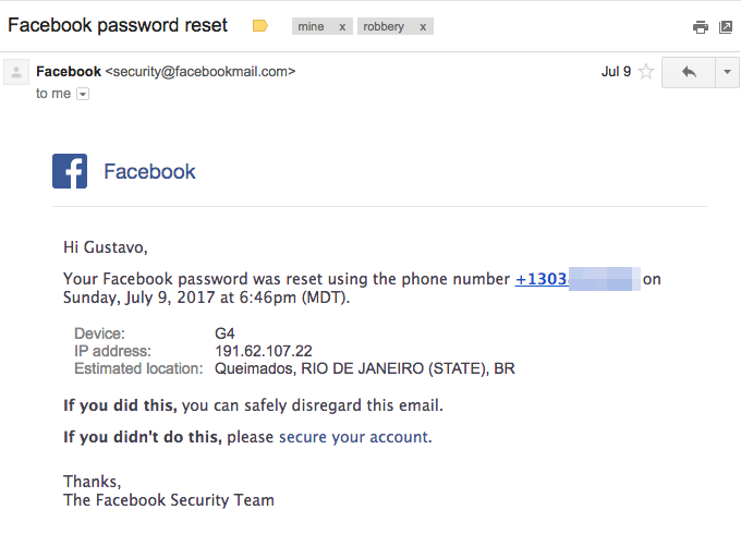Facebook password reset email